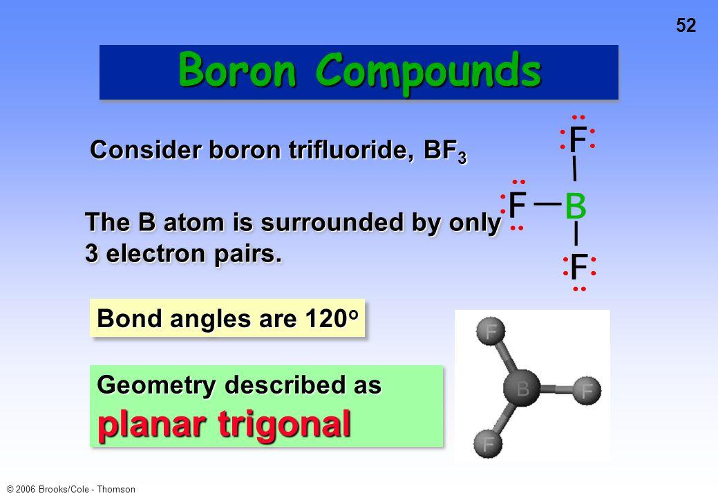 Boron Compounds Consider boron trifluoride, BF3