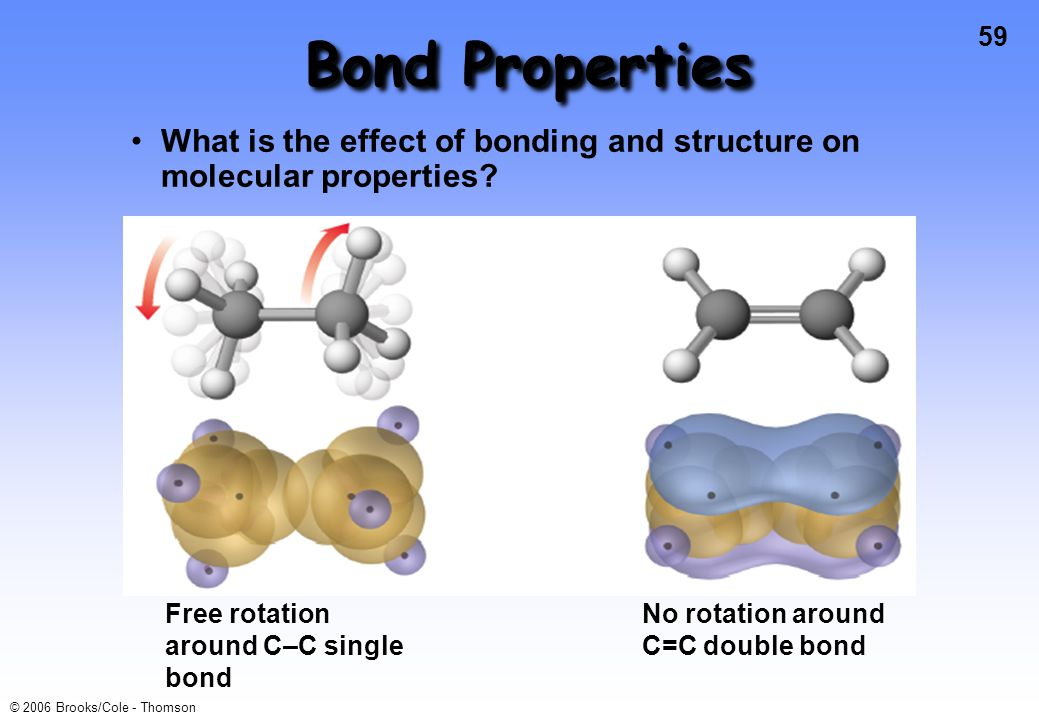 Bond Properties What is the effect of bonding and structure on molecular properties Free rotation around C–C single bond.
