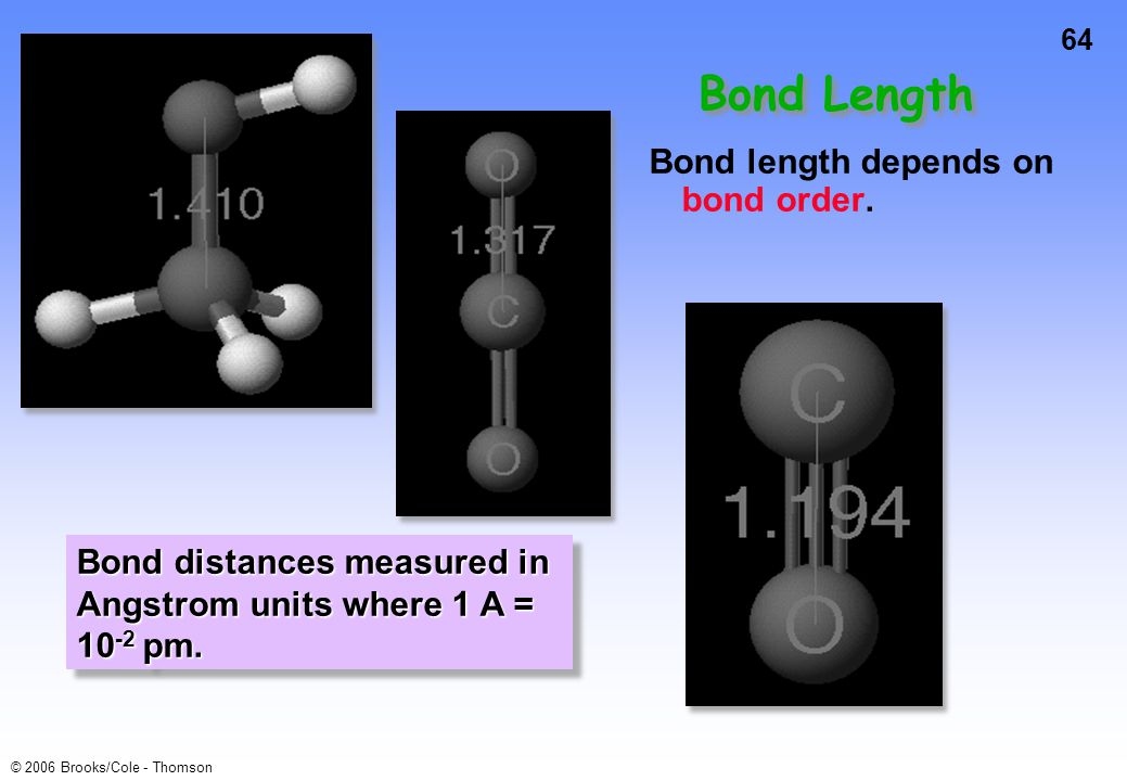 Bond Length Bond length depends on bond order.