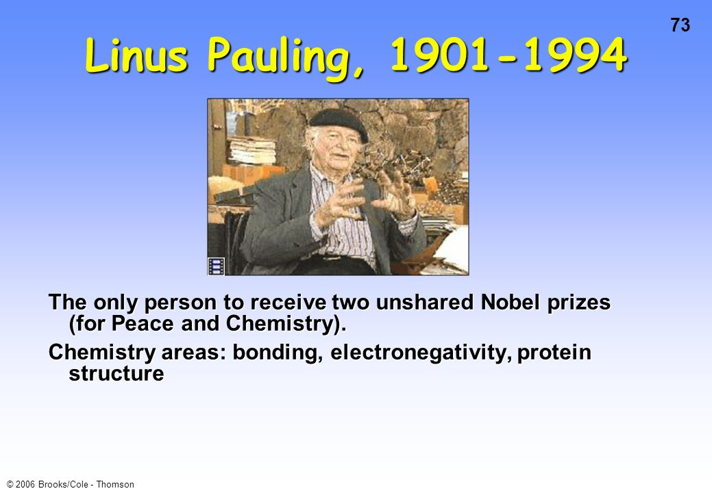 Linus Pauling, 1901-1994 The only person to receive two unshared Nobel prizes (for Peace and Chemistry).