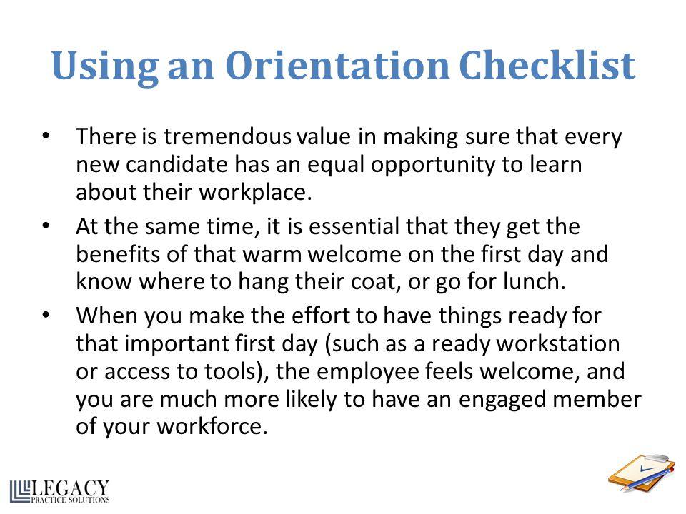 Using an Orientation Checklist