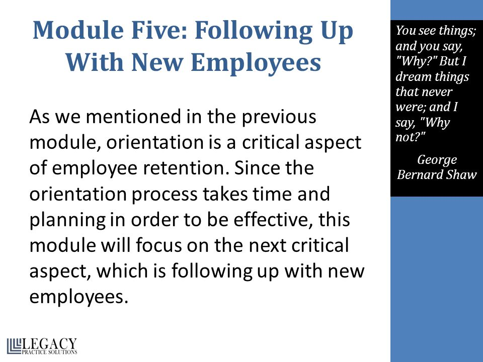 Module Five: Following Up With New Employees