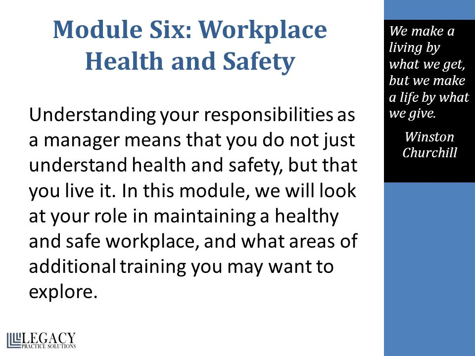 Module Six: Workplace Health and Safety