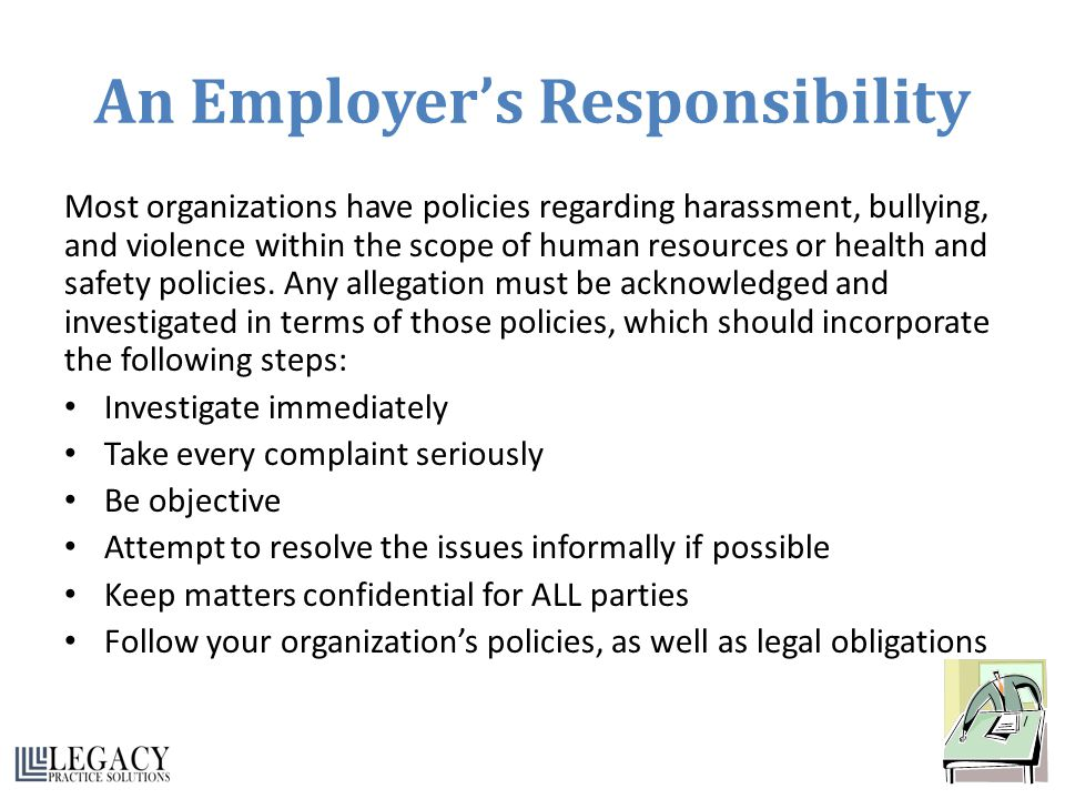 An Employer's Responsibility