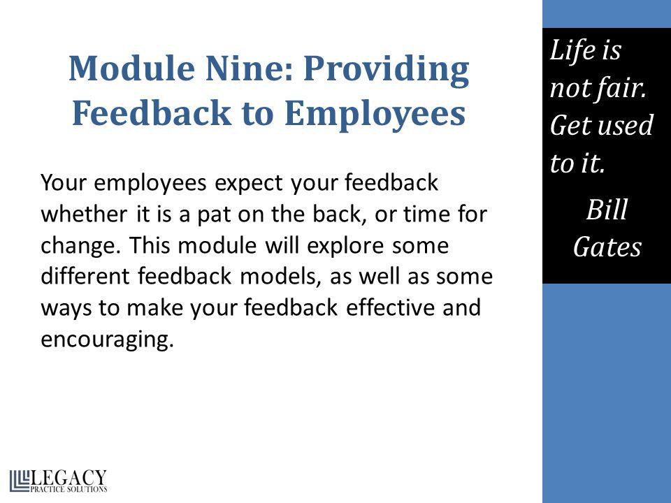 Module Nine: Providing Feedback to Employees