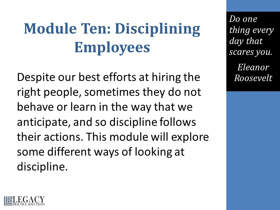 Module Ten: Disciplining Employees