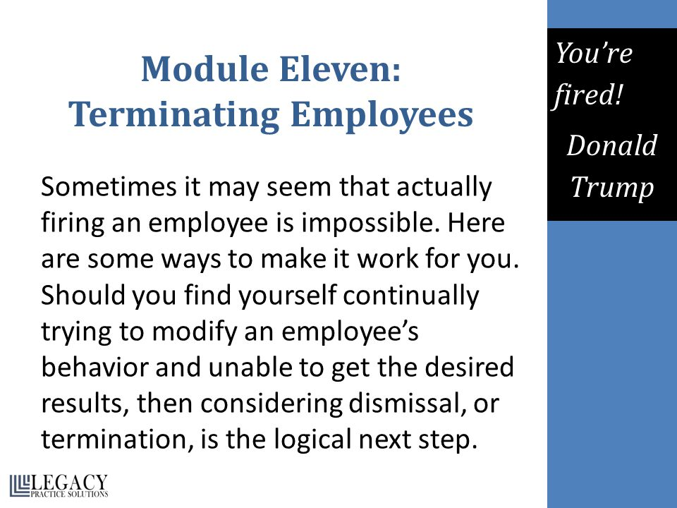 Module Eleven: Terminating Employees