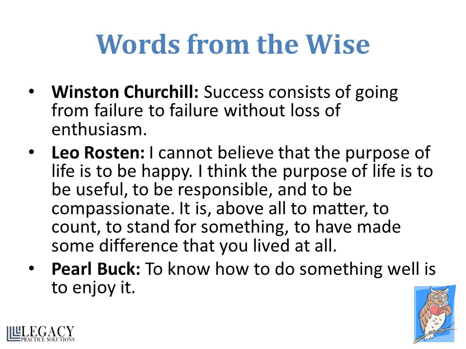Words from the Wise Winston Churchill: Success consists of going from failure to failure without loss of enthusiasm.