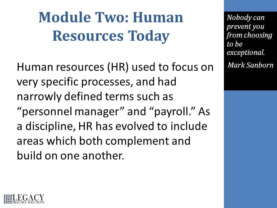 Module Two: Human Resources Today