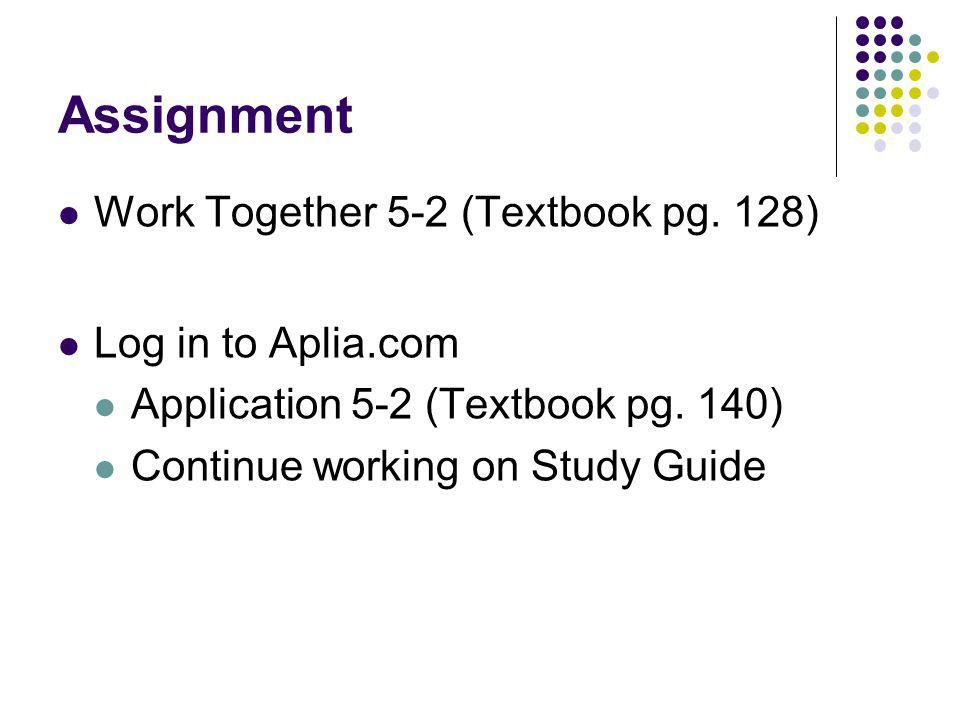 Assignment Work Together 5-2 (Textbook pg. 128) Log in to Aplia.com