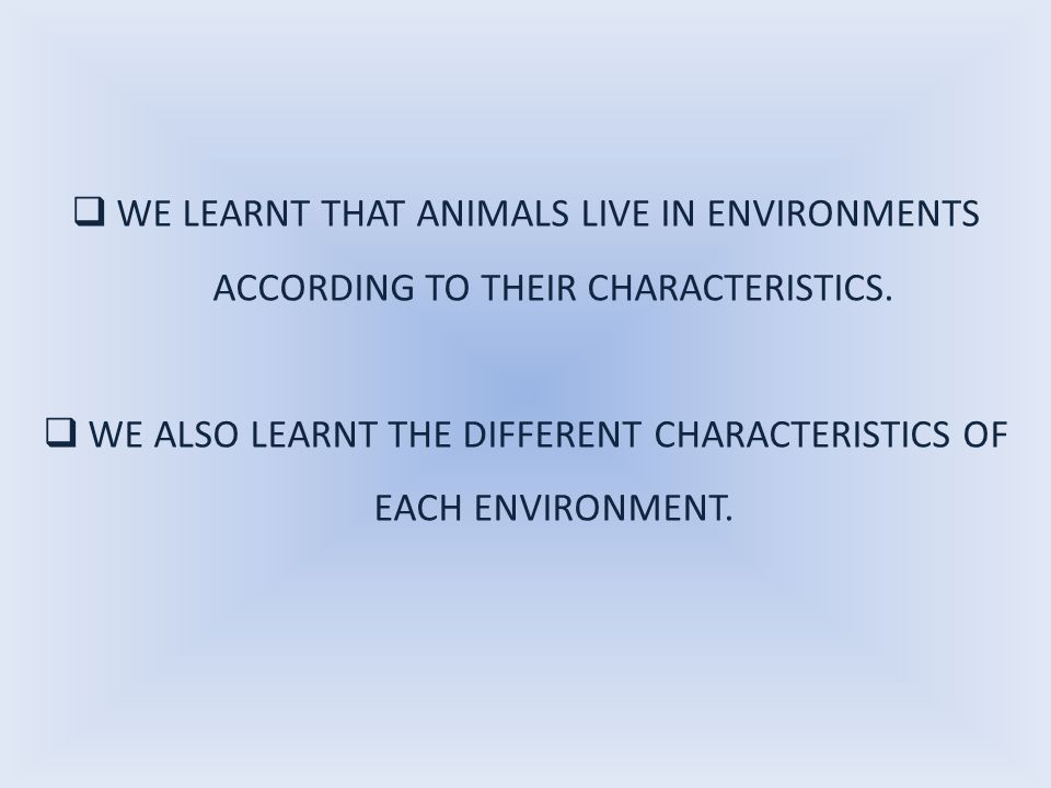 WE LEARNT THAT ANIMALS LIVE IN ENVIRONMENTS