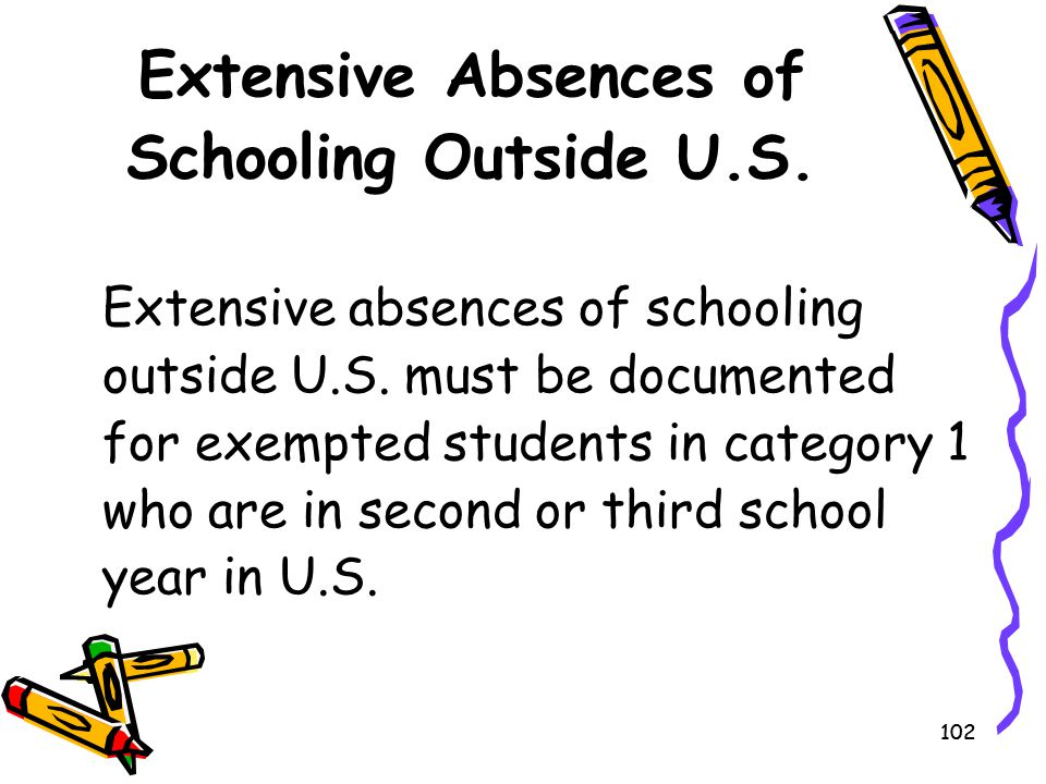 Extensive Absences of Schooling Outside U.S.