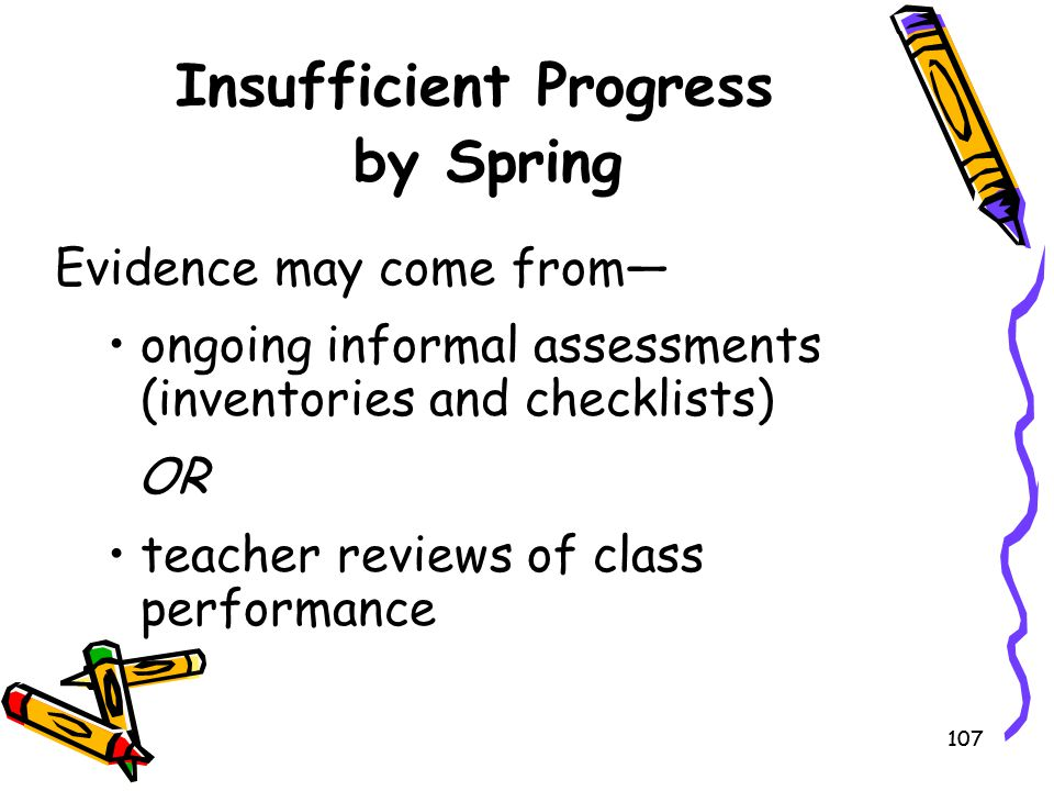 Insufficient Progress by Spring