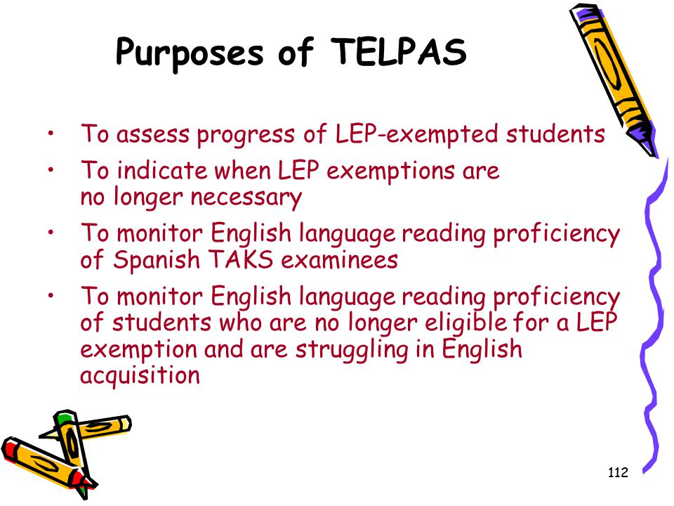 Purposes of TELPAS To assess progress of LEP-exempted students