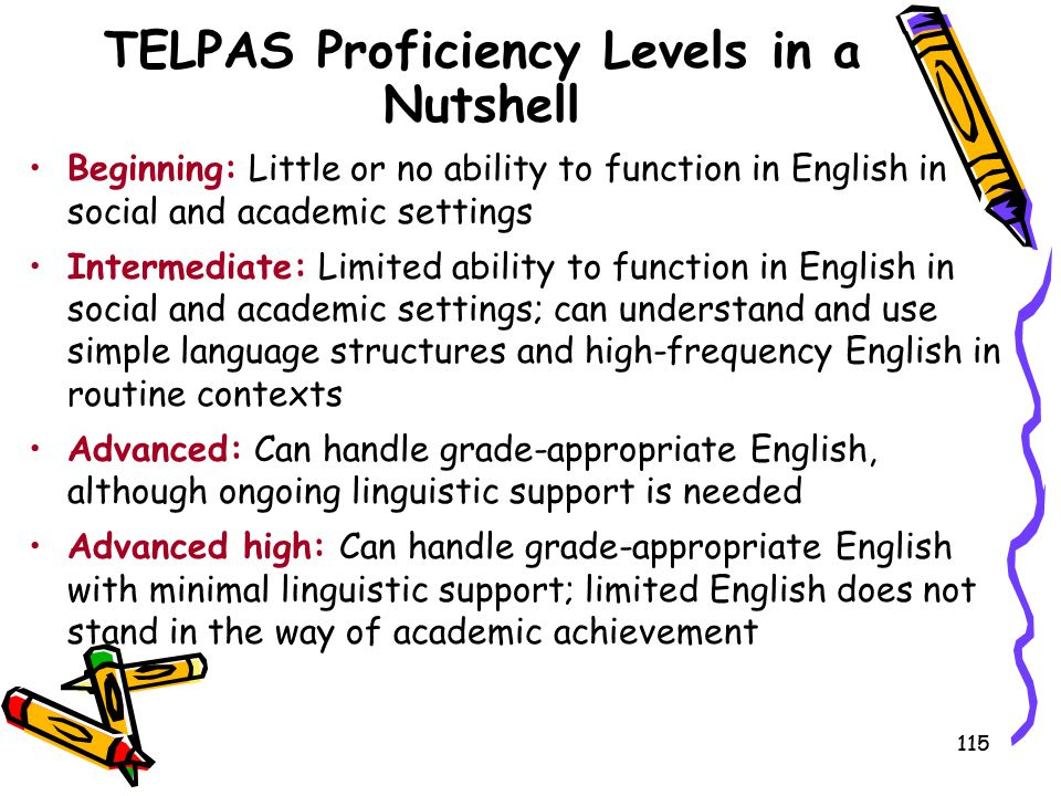 TELPAS Proficiency Levels in a Nutshell