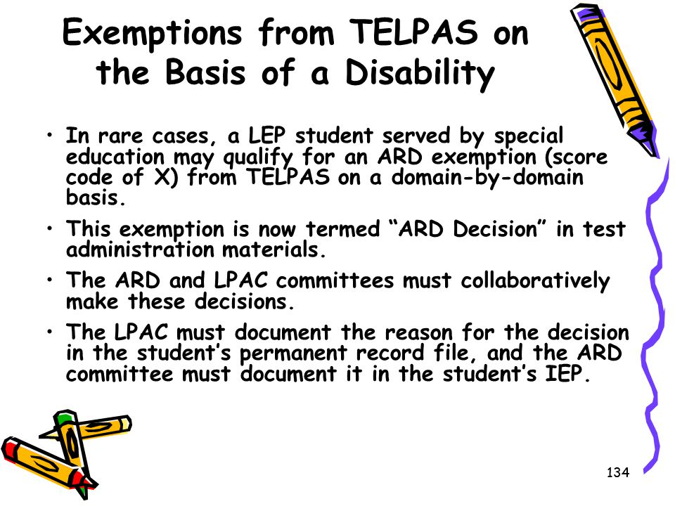 Exemptions from TELPAS on the Basis of a Disability
