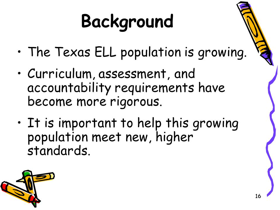 Background The Texas ELL population is growing.
