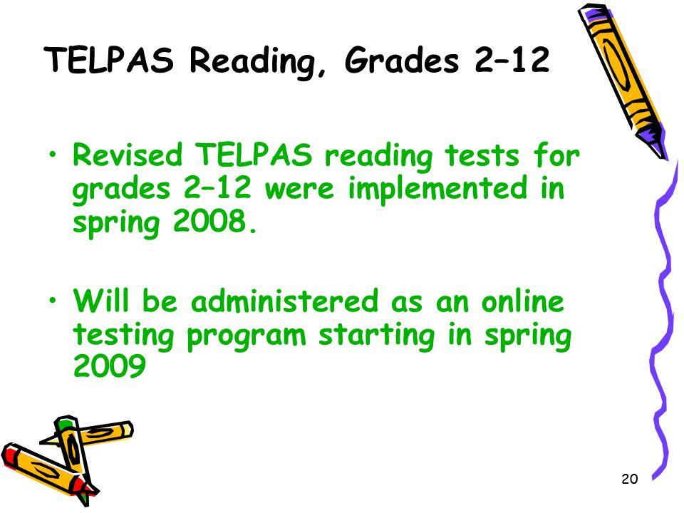 TELPAS Reading, Grades 2–12