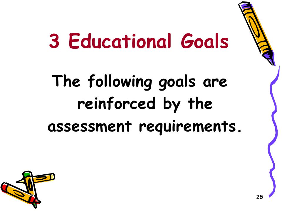 The following goals are reinforced by the assessment requirements.