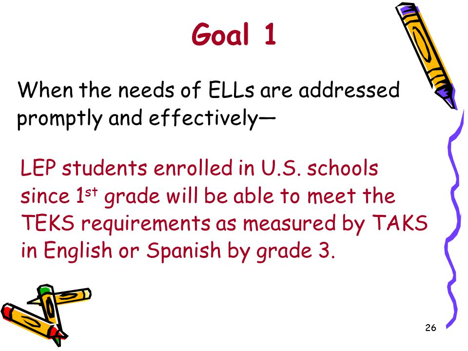 Goal 1 When the needs of ELLs are addressed promptly and effectively—