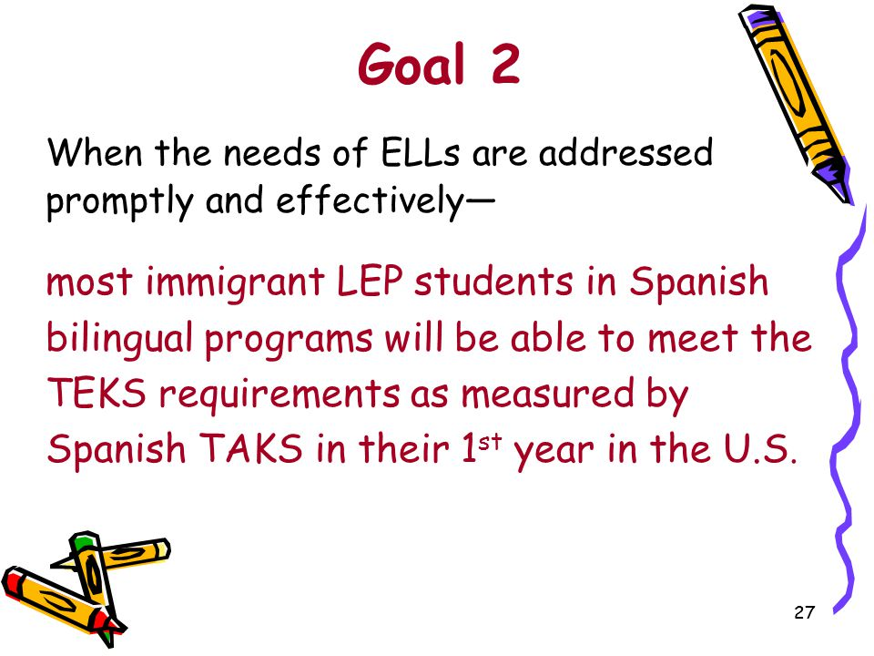 Goal 2 When the needs of ELLs are addressed promptly and effectively—
