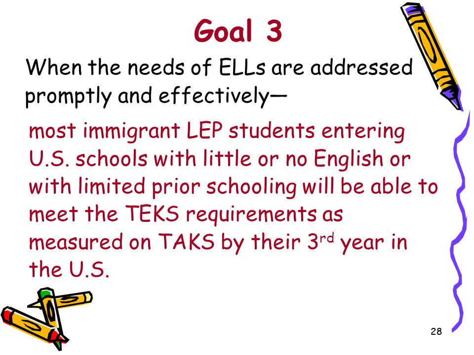 Goal 3 When the needs of ELLs are addressed promptly and effectively—