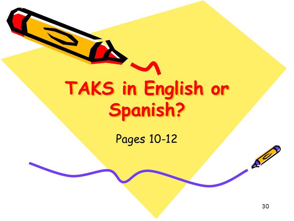 TAKS in English or Spanish