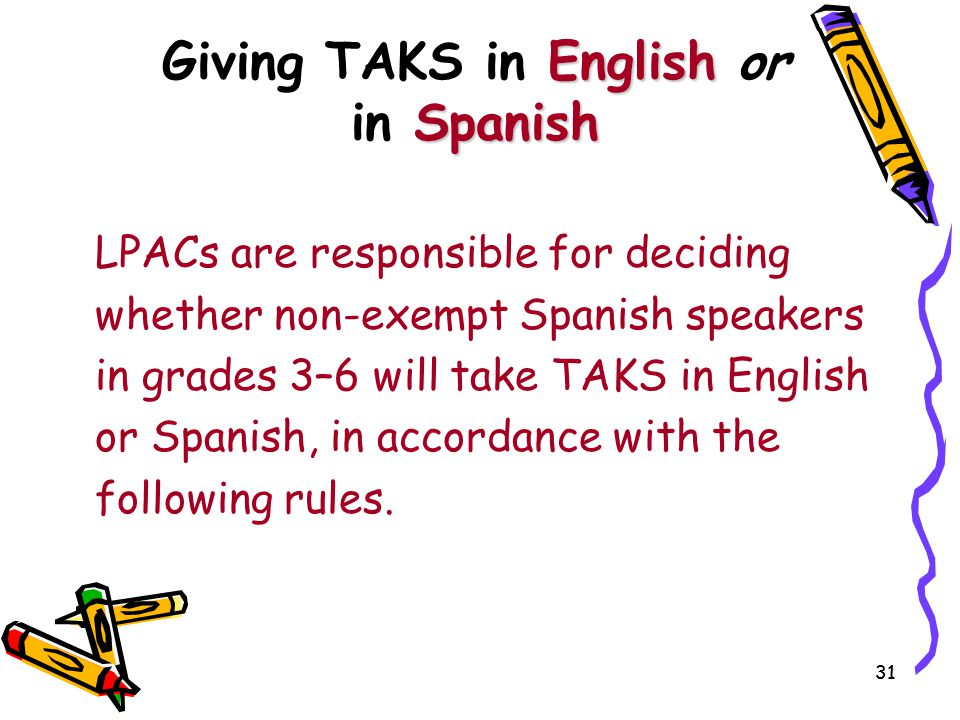 Giving TAKS in English or in Spanish