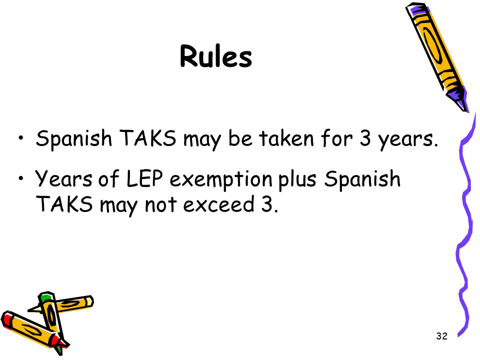 Rules Spanish TAKS may be taken for 3 years.
