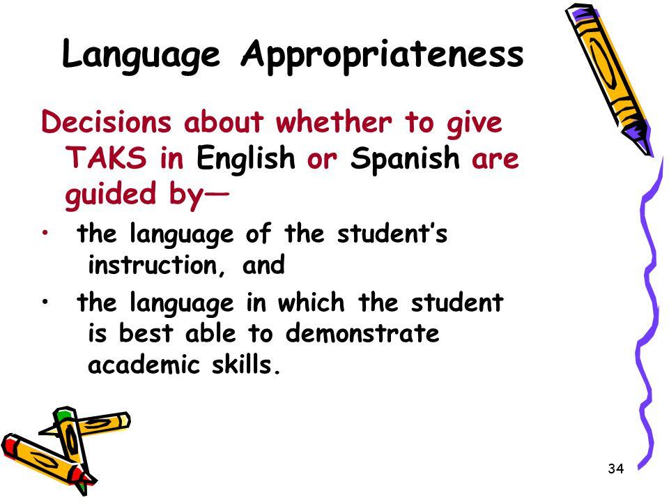Language Appropriateness