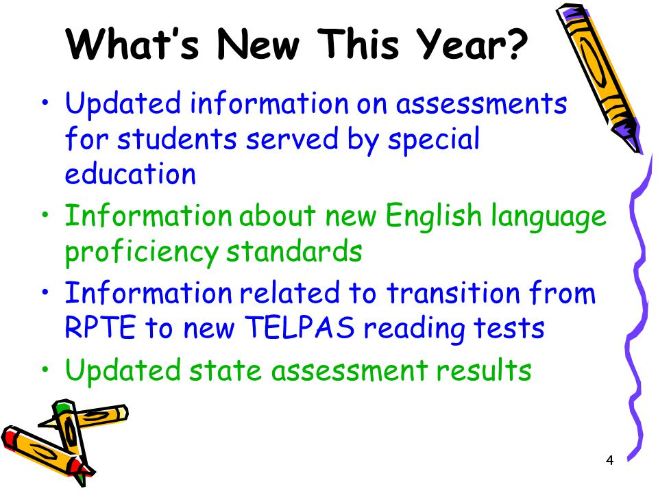 What's New This Year Updated information on assessments for students served by special education.