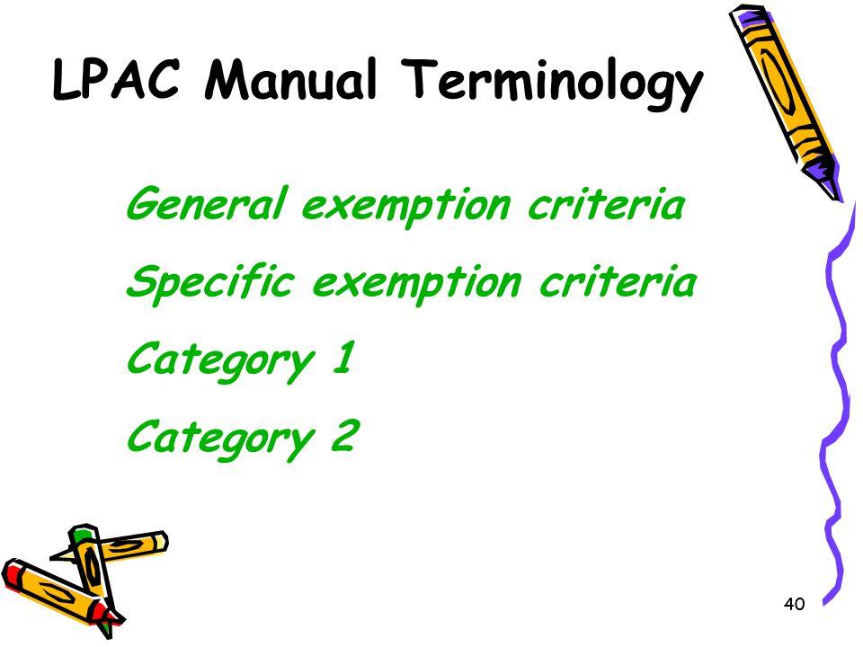 LPAC Manual Terminology