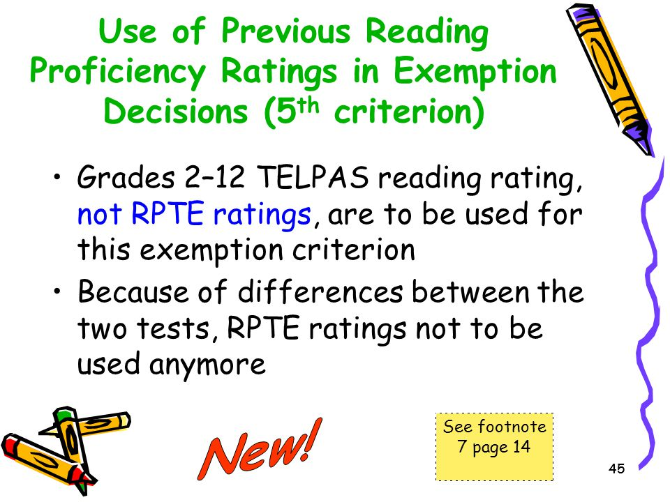 Use of Previous Reading Proficiency Ratings in Exemption Decisions (5th criterion)