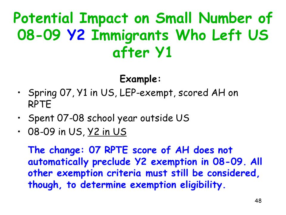 Potential Impact on Small Number of 08-09 Y2 Immigrants Who Left US after Y1