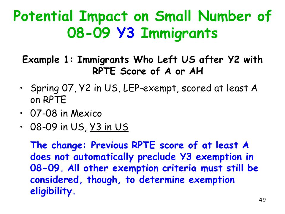 Potential Impact on Small Number of 08-09 Y3 Immigrants