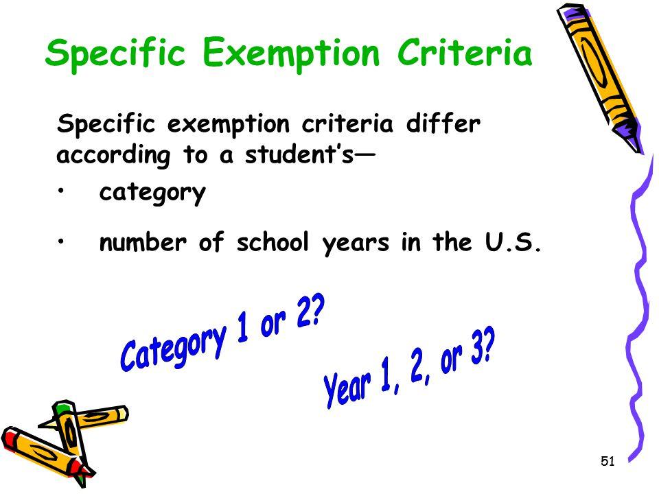 Specific Exemption Criteria