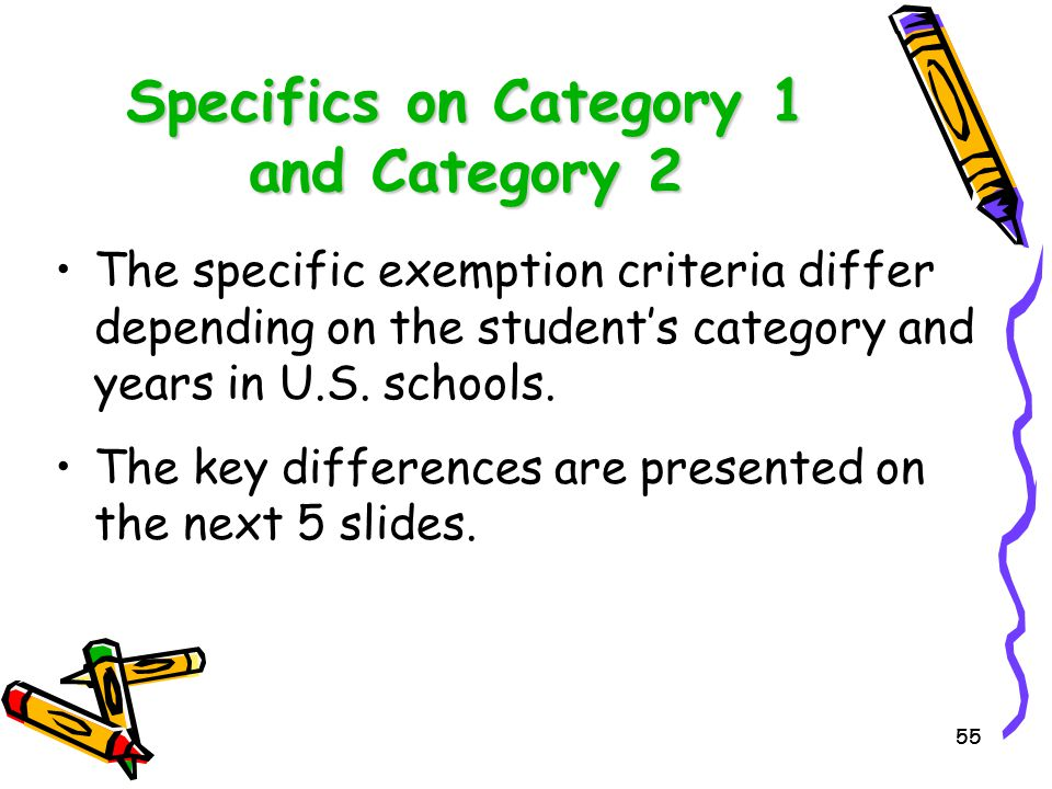 Specifics on Category 1 and Category 2
