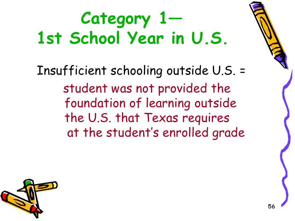 Category 1— 1st School Year in U.S.