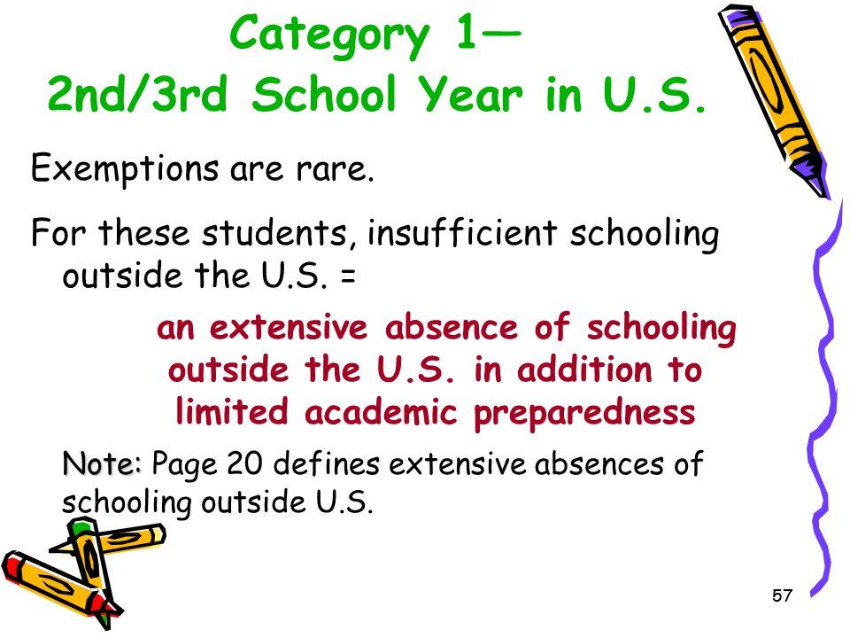 Category 1— 2nd/3rd School Year in U.S.