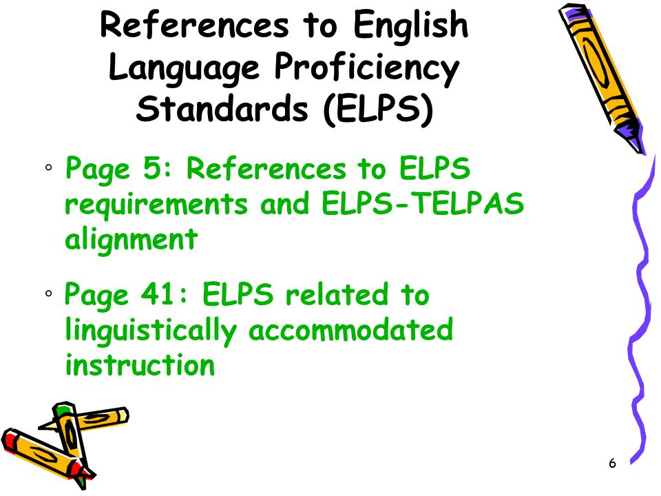 References to English Language Proficiency Standards (ELPS)