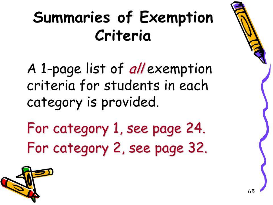 Summaries of Exemption Criteria