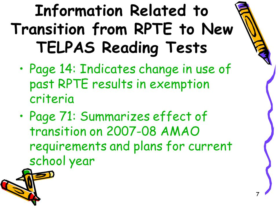Information Related to Transition from RPTE to New TELPAS Reading Tests
