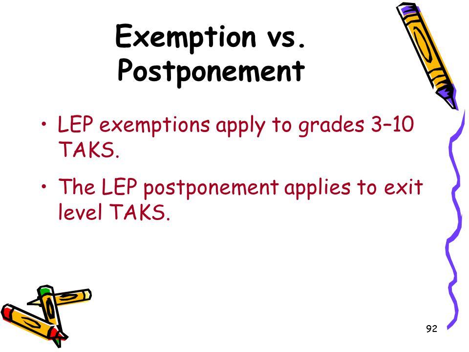 Exemption vs. Postponement