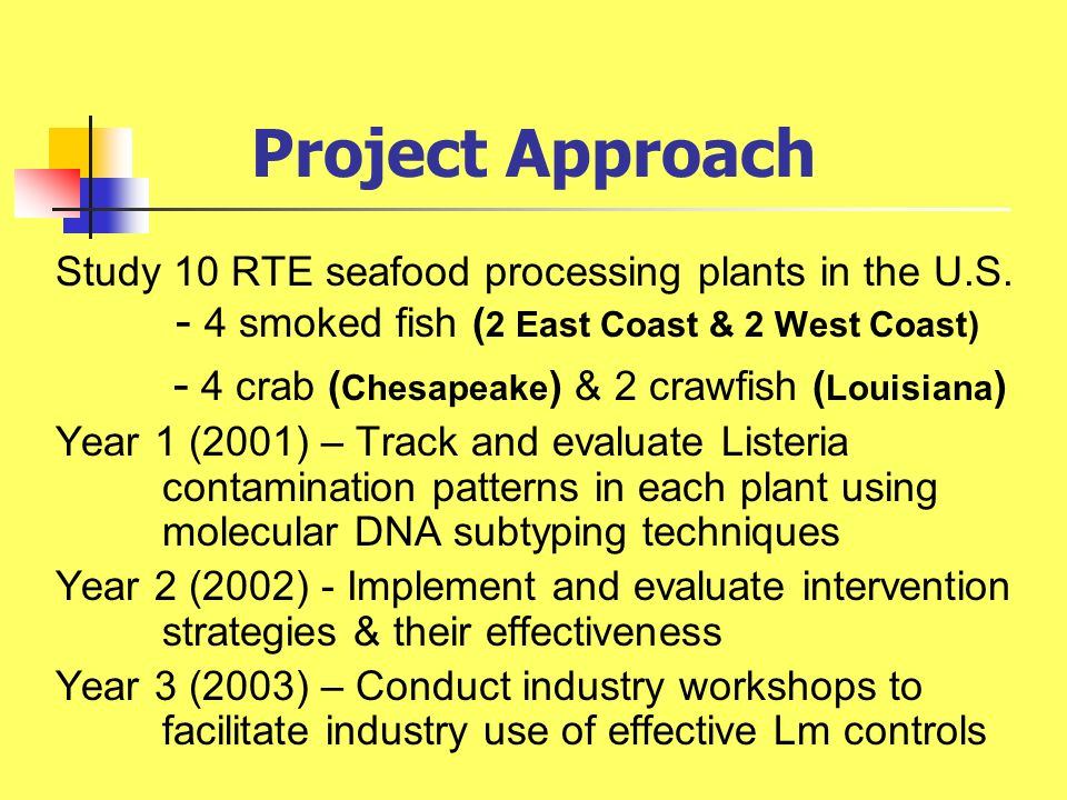 Project Approach Study 10 RTE seafood processing plants in the U.S. - 4 smoked fish (2 East Coast & 2 West Coast)