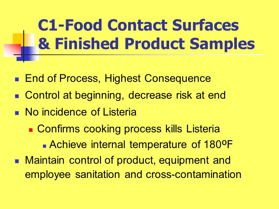 C1-Food Contact Surfaces & Finished Product Samples