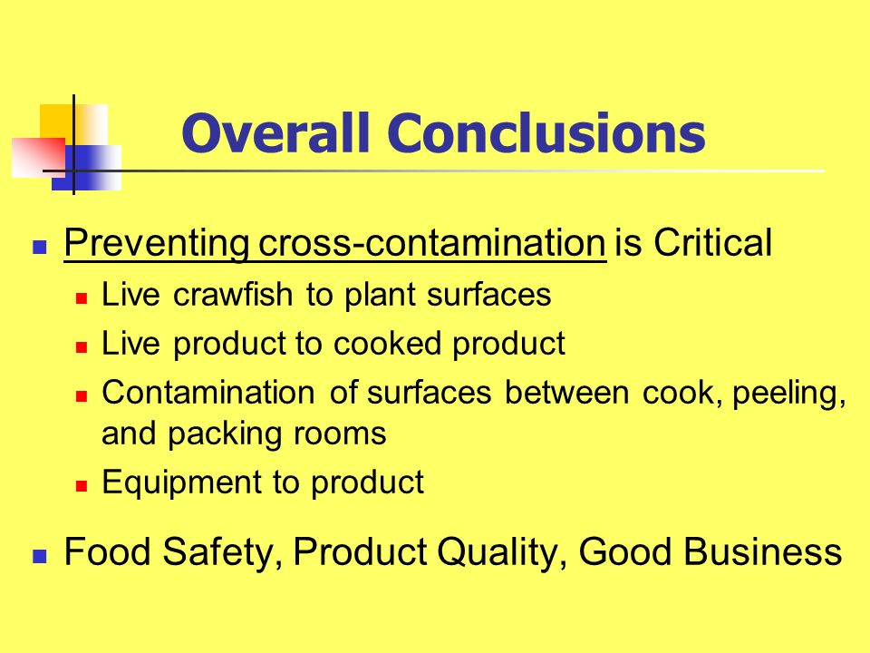 Overall Conclusions Preventing cross-contamination is Critical