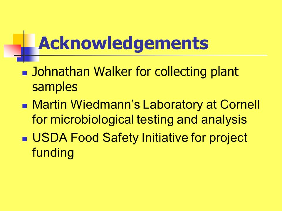 Acknowledgements Johnathan Walker for collecting plant samples