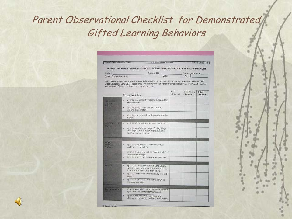 Parent Observational Checklist for Demonstrated Gifted Learning Behaviors