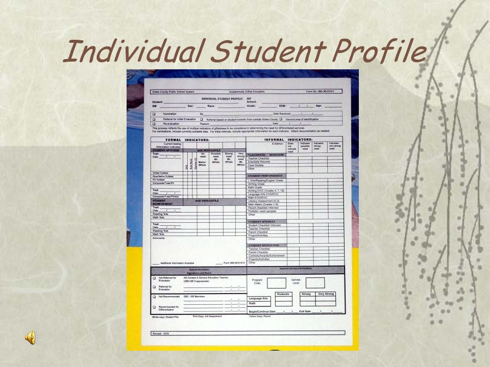 Individual Student Profile