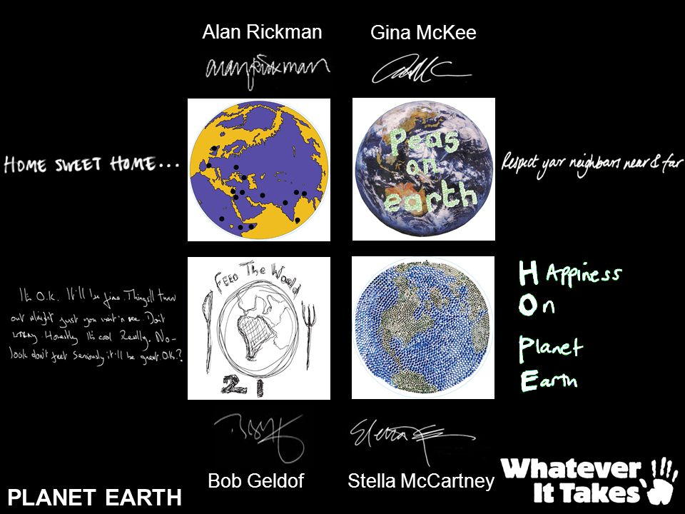 Alan Rickman Gina McKee Bob Geldof Stella McCartney PLANET EARTH